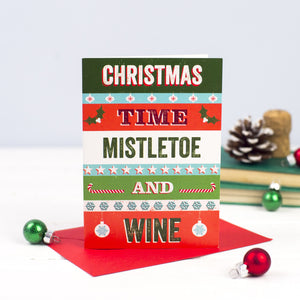 DISCONTINUED - 'Mistletoe & Wine' Retro Christmas Card-A4 Print-Of Life & Lemons®