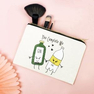 'You Complete Me' Gin & Tonic Make Up Bag-Tote Bag-Of Life & Lemons®