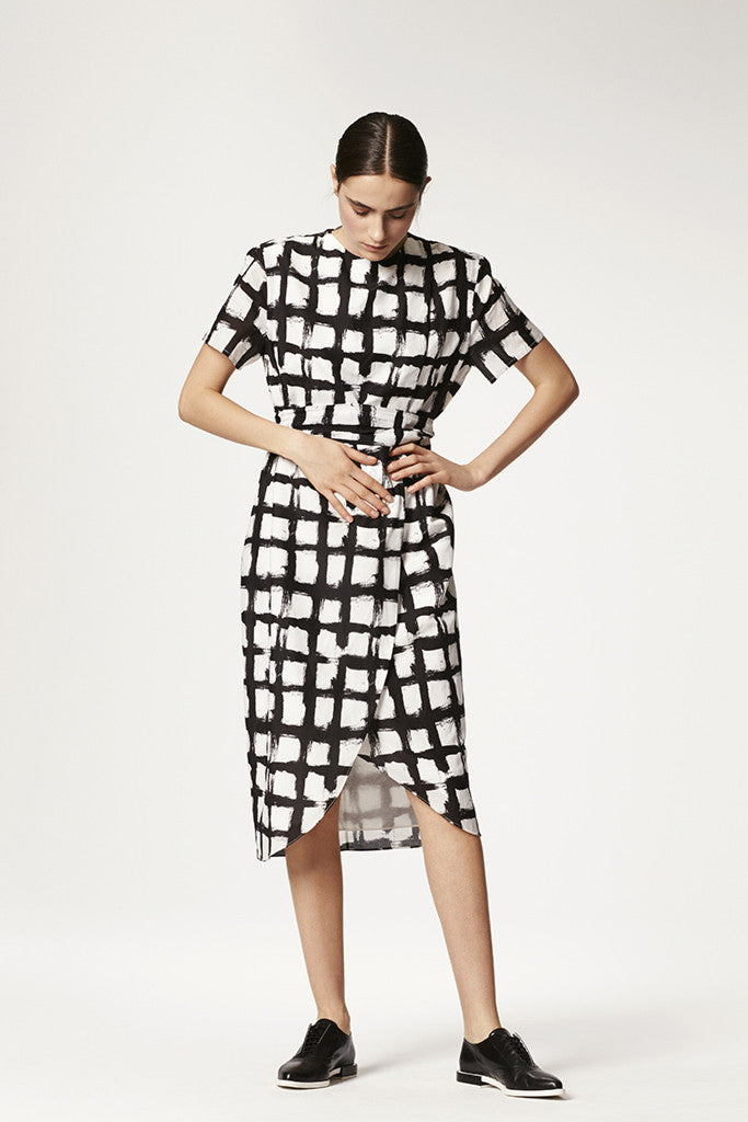 Printed Silk Cotton Overlap Dress + Belt