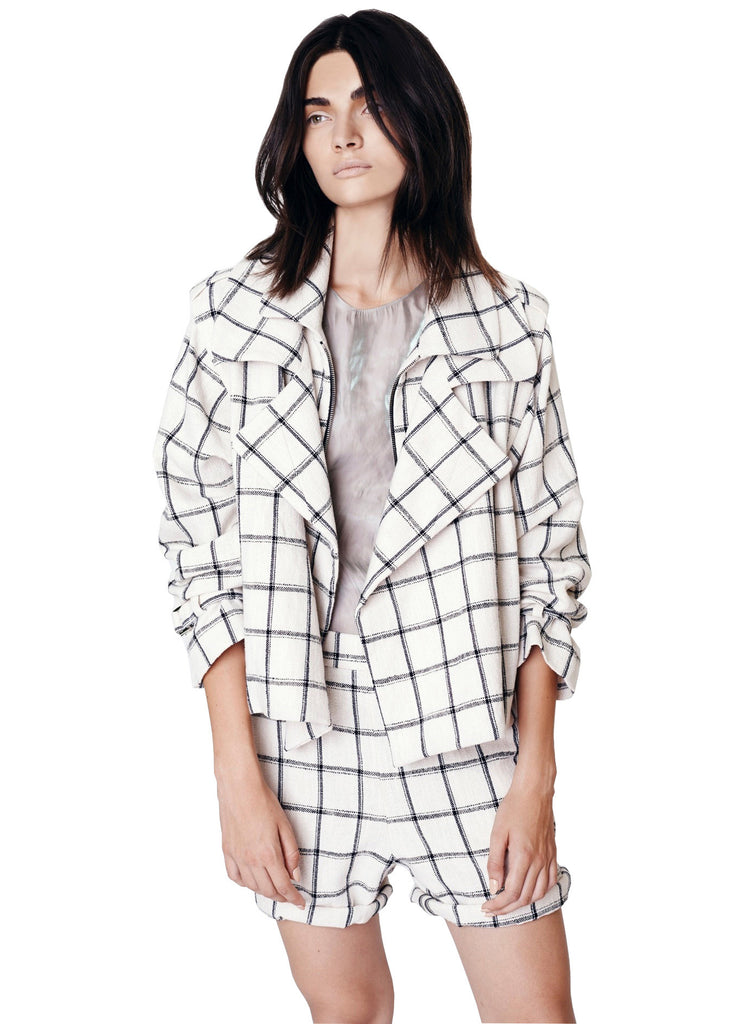 Plaid Linen Double Mini Trench