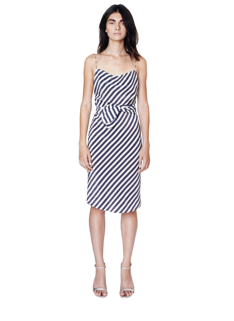 Stripe Cowl Slip Dress