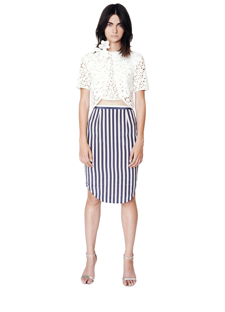 Stripe High Waisted Pencil Skirt