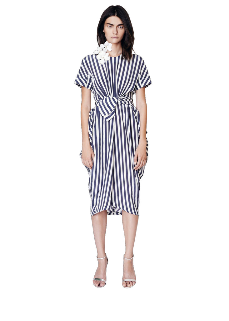 Stripe Short Sleeve Side Drape Dress