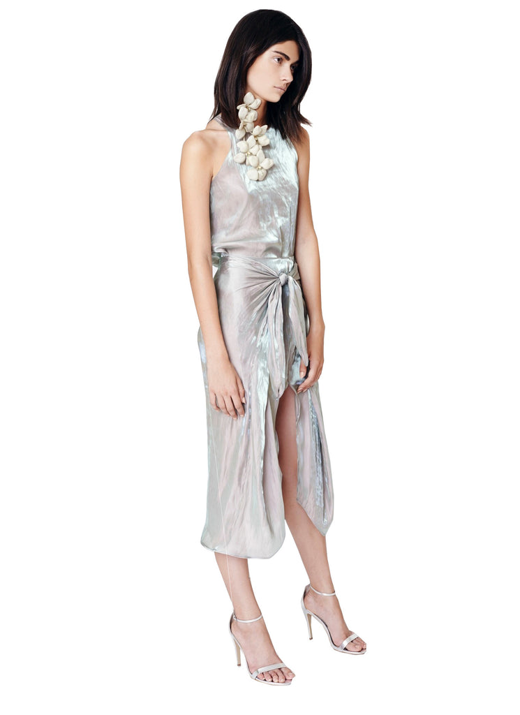 Iridescent Satin Tie Front Skirt