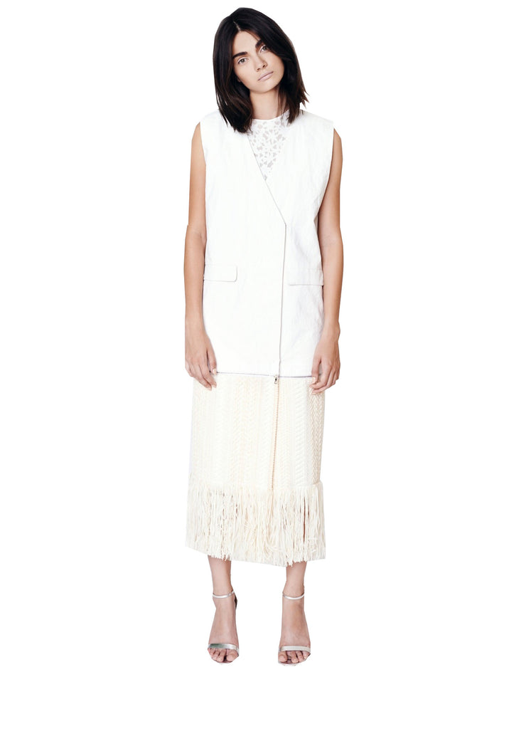 Resin Linen Vest w/ Zip Off Fringe