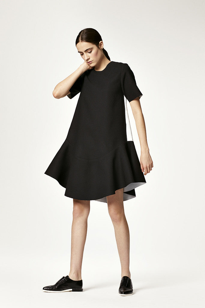 Bonded Crepe Flounce Dress