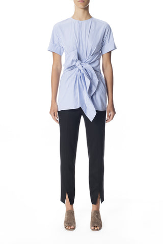 Cotton Pleat Front Shirt w/ Ties