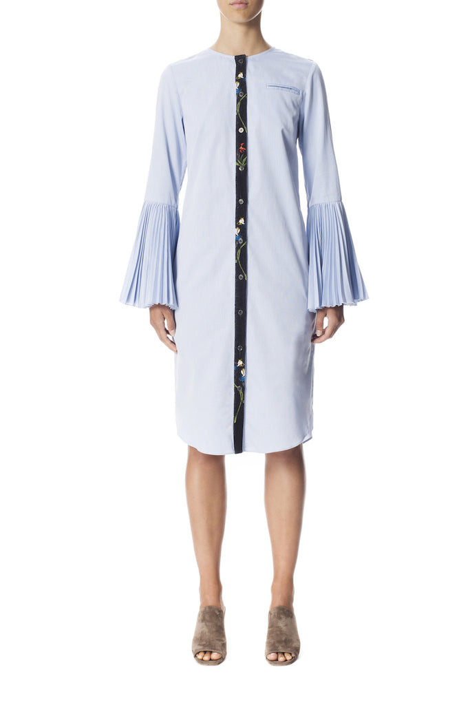 Cotton + Printed Crepe Pleated Sleeve Shirt Dress