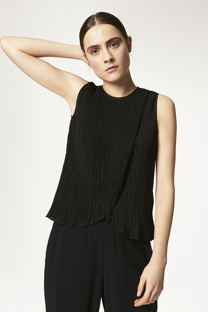 Fortuny Pleat Crepe Cross Front Tank