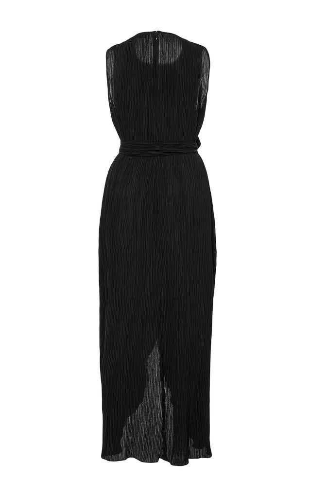 Fortuny Pleat Crepe Overlap Gown + Belt