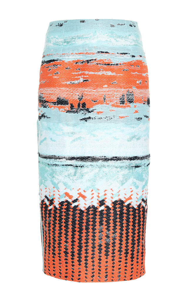 Woven Landscape Pencil Skirt