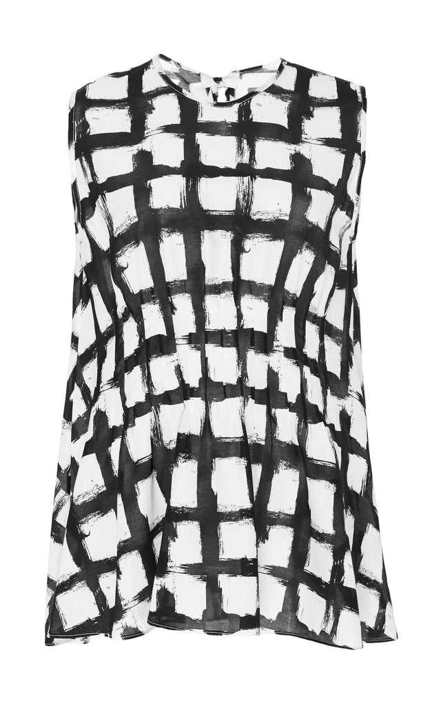 Printed Silk Cotton Pintuck Tank