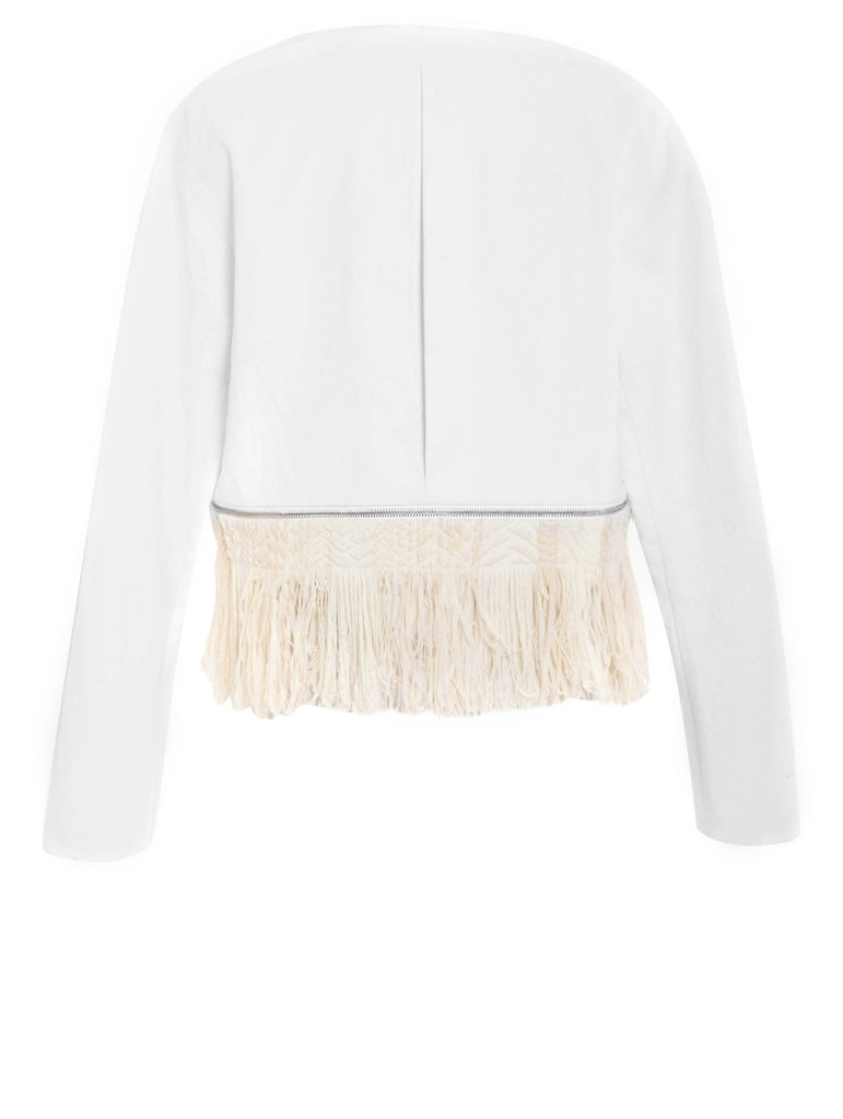 Resin Linen Jacket w/ Zip Off Fringe