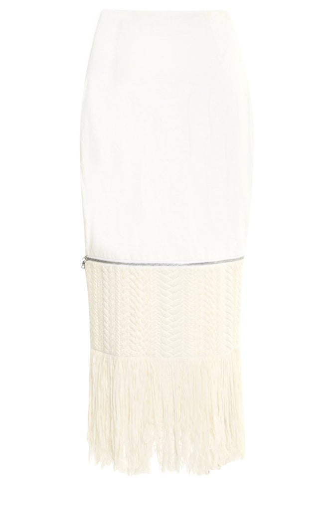 Resin Linen Skirt w/ Zip off Fringe