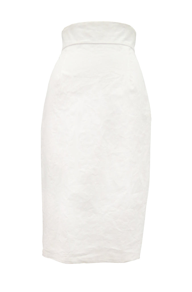 Resin Linen Pencil Skirt