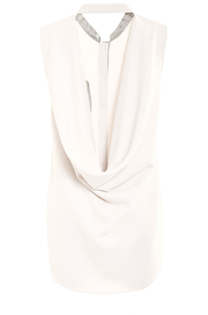 Crepe Cowl Back Sleeveless Shirt