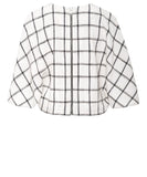 Plaid Linen Cropped Cape Top