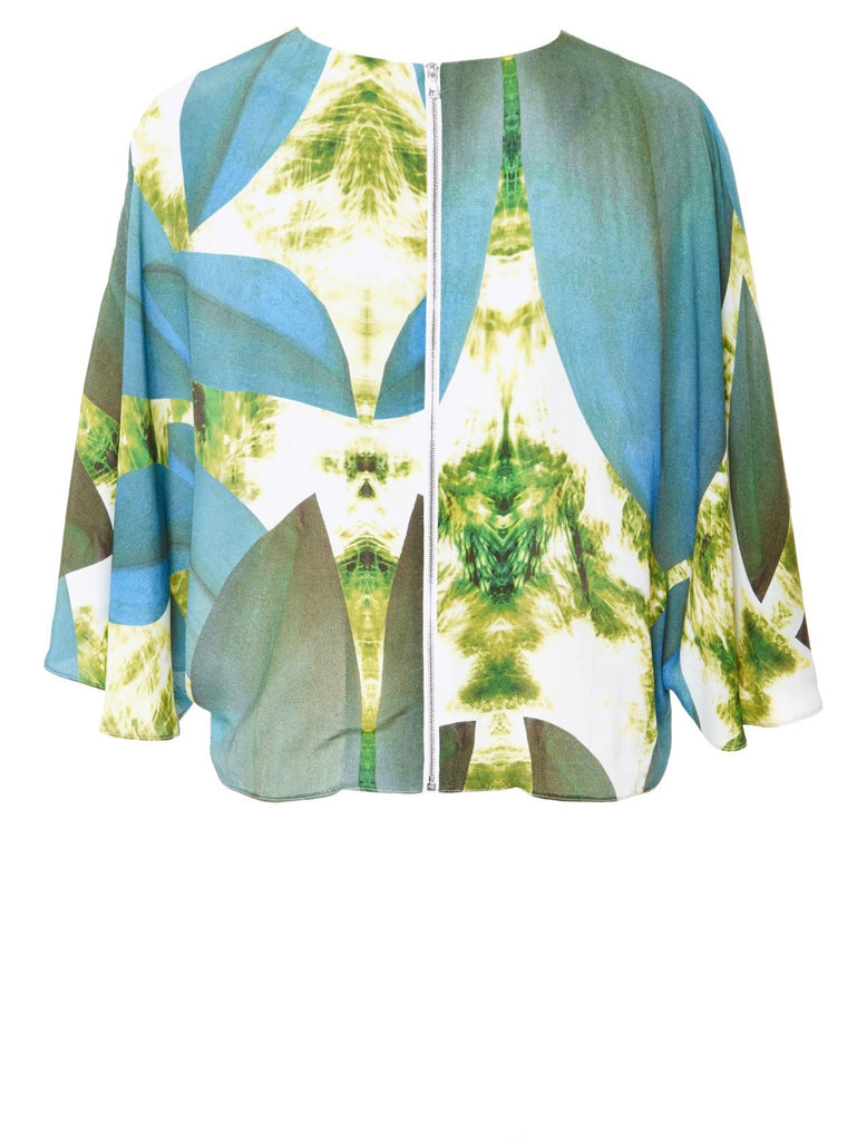 Leaf Print Cropped Cape Top