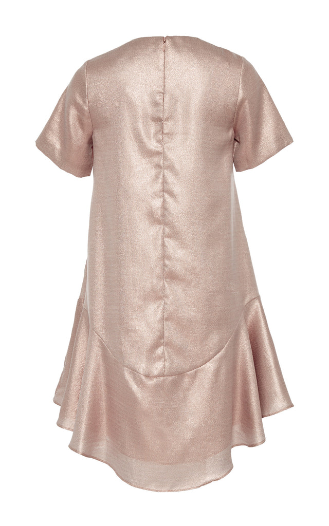 Metallic Lamé Ruffle Dress