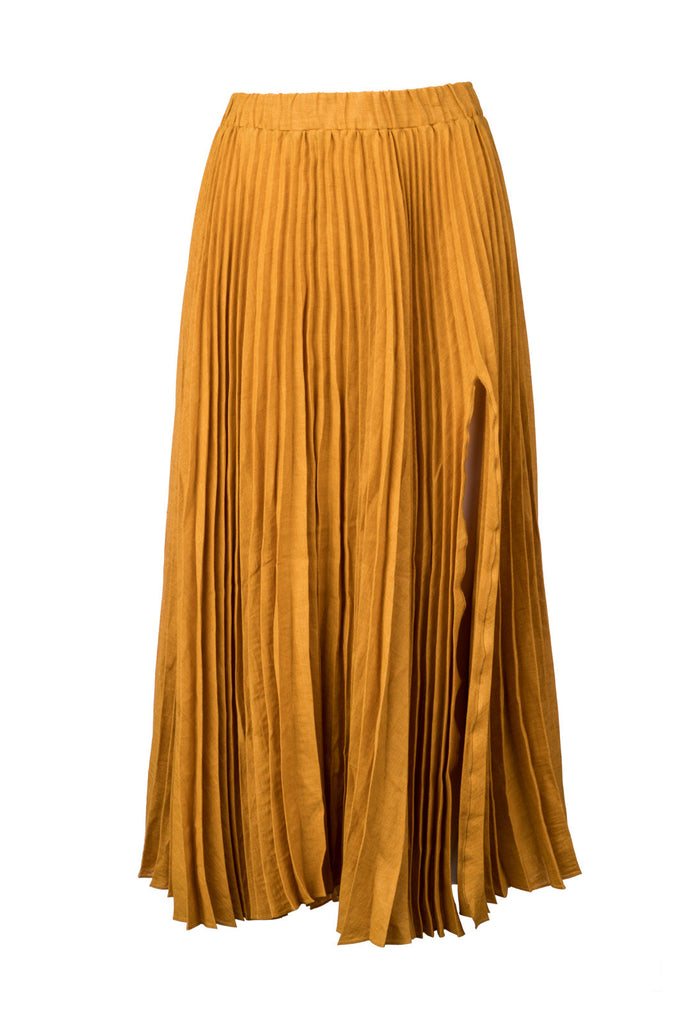 Linen Pleated Skirt
