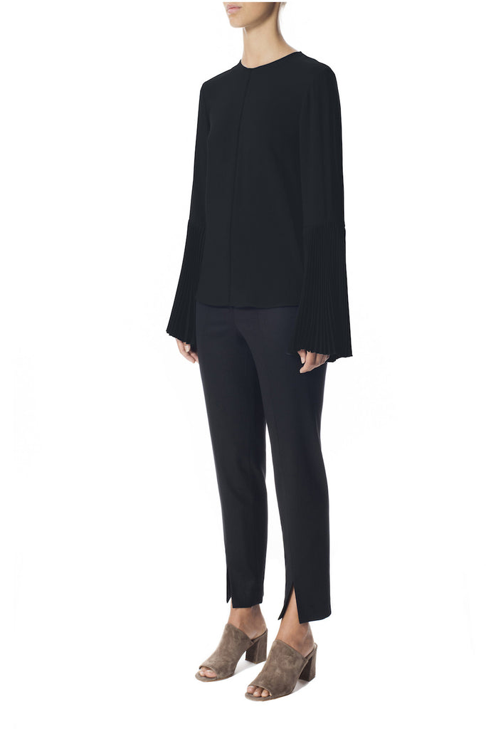 Liquid Viscose Pleated Bell Sleeve Top