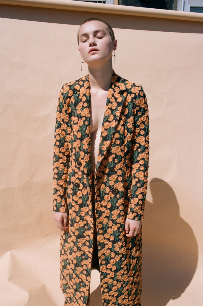 Stretch Floral Double Breasted Jacket