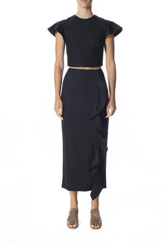 Merino Ruffle Pencil Skirt