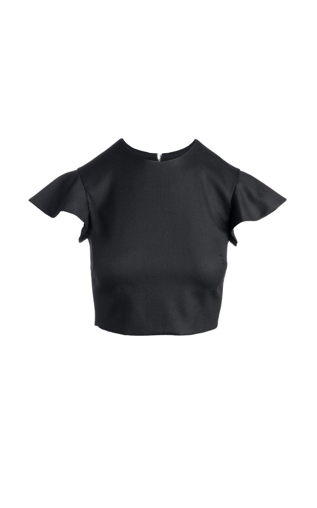 Merino Ruffle Sleeve Cropped Top