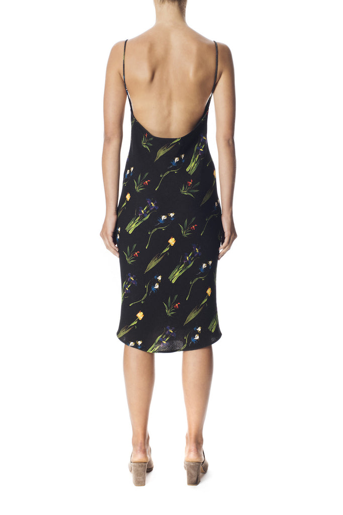 Printed Crepe Cowl Slip Dress