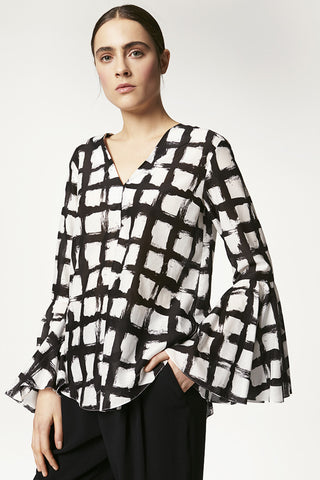 Printed Silk Cotton Bell Sleeve Pullover