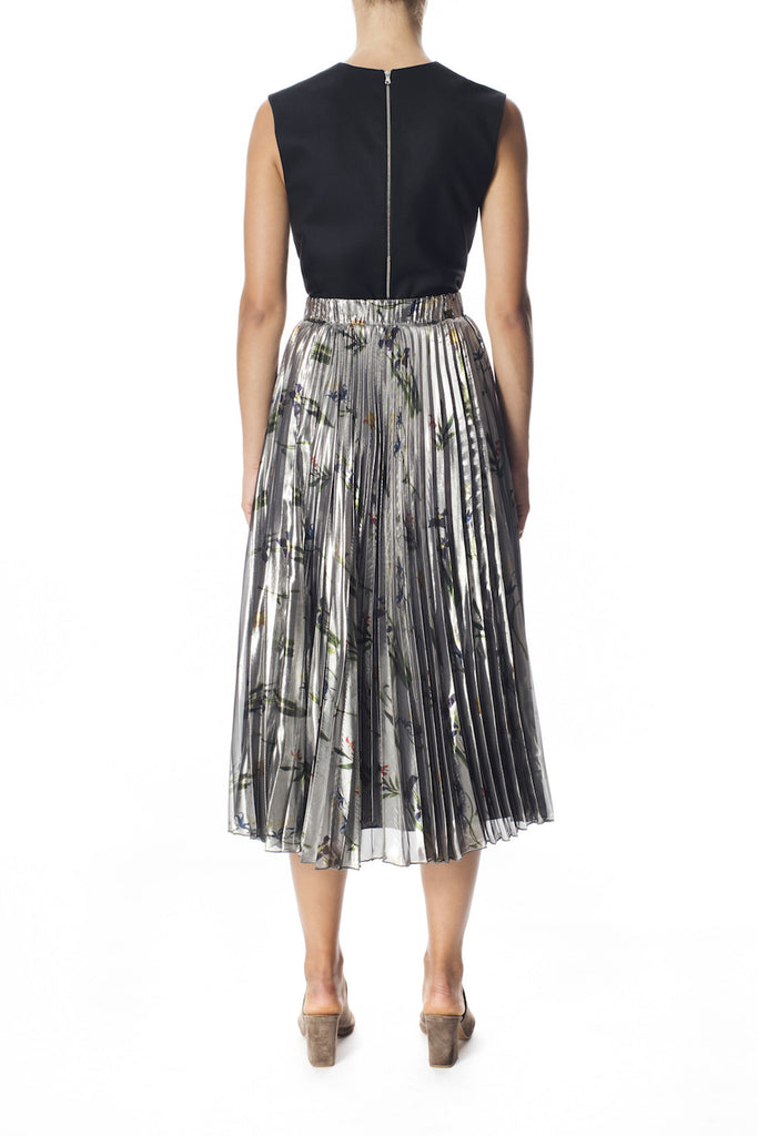 Silk Lamé Pleated Skirt