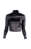 Stretch Satin Cropped Turtleneck w/ Grosgrain Trim