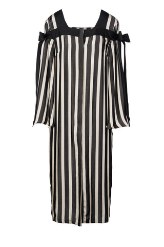 Stripe Viscose Flare Sleeve Grosgrain Dress