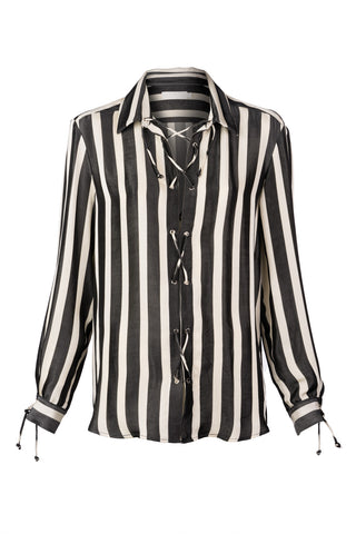 Stripe Viscose Tie Front Buttondown