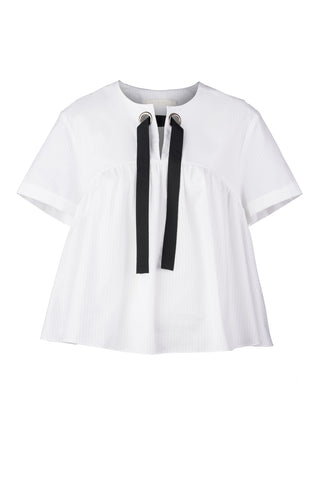 Striped Shirting Gathered Crop