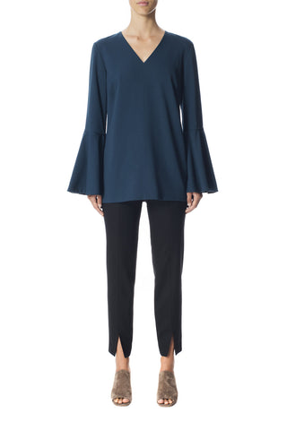 Wool Crepe Bell Sleeve Tunic