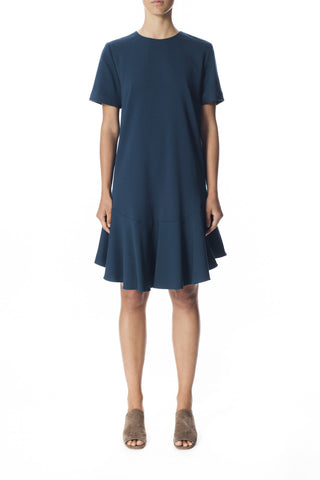 Wool Crepe Ruffle Dress