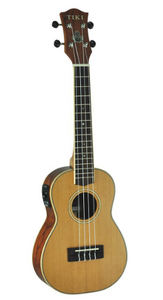 Tiki '7 Series' Cedar Solid Top Electric Concert Ukulele with Hard Case (Natural Satin)