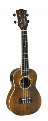 TIKI '3 SERIES' KOA WOOD ELECTRIC CONCERT UKULELE WITH GIG BAG (NATURAL SATIN)