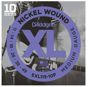 D'Addario EXL115-10P Nickel Wound Electric Guitar Strings 10-PACK - Medium (11-49)