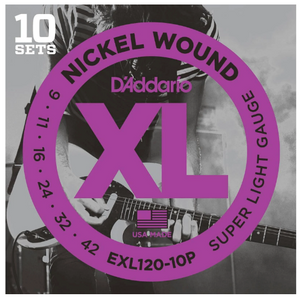 D'Addario EXL120 Nickel Super Light Electric Guitar Strings 10 Pack of Daddario String Sets