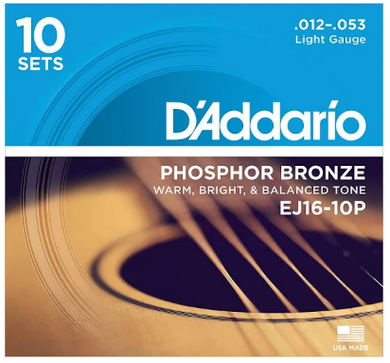 D'Addario EJ16-10P Phosphor Bronze Acoustic Guitar Strings 10-PACK - (12-53)