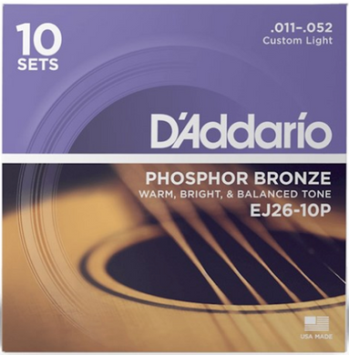 D'Addario EJ26-10P Phosphor Bronze Acoustic Guitar Strings 10-PACK - Custom Light (11-52)