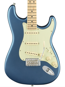 Fender American Performer Stratocaster SSS in Satin Lake Placid Blue.