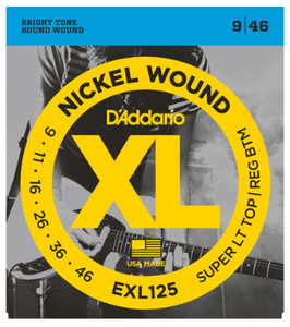 D'Addario EXL125 Electric Guitar Strings  Super Light Top Reg Bot 9-46