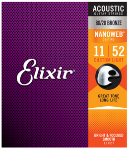 Elixir Nanoweb 80/20 Bronze 11-52 Acoustic Guitar Strings