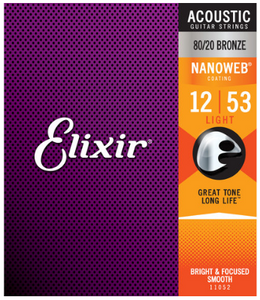 Elixir Nanoweb 80/20 Bronze 12-53 Acoustic Guitar Strings