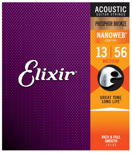 Elixir Nanoweb Phosphor Bronze 13-56 Acoustic Guitar Strings