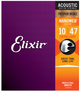 Elixir Nanoweb Phosphor Bronze 10-47 Acoustic Guitar Strings