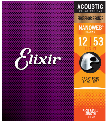 Elixir Nanoweb Phosphor Bronze 12-53 Acoustic Guitar Strings